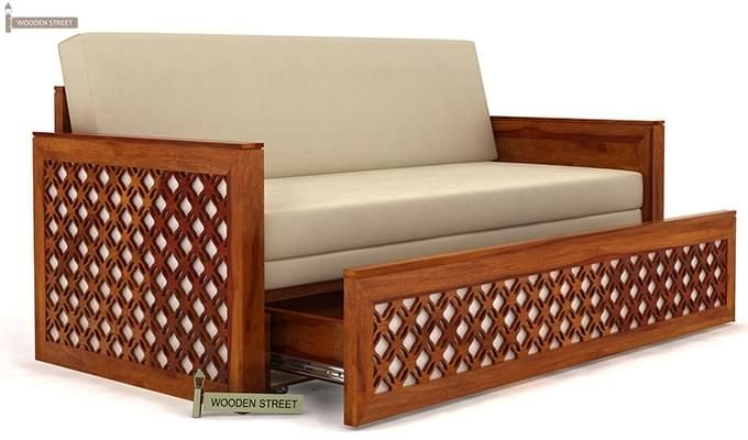 Corsica Sofa Cum Bed (King size, Honey Finish)-3