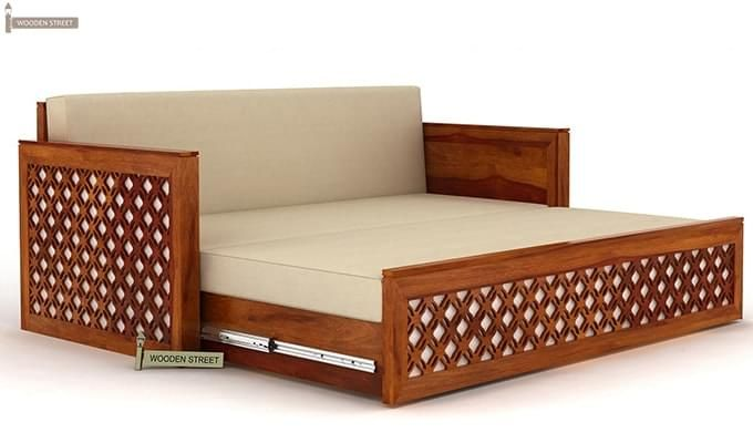 Corsica Sofa Cum Bed (King size, Honey Finish)-4