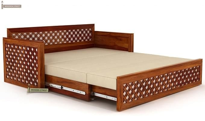 Corsica Sofa Cum Bed (King size, Honey Finish)-5