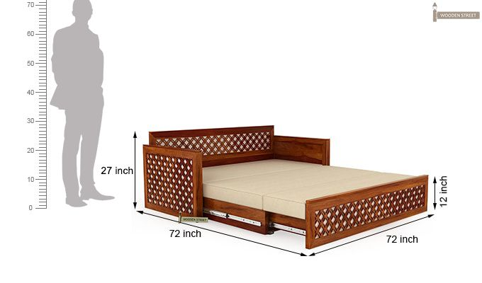 Corsica Sofa Cum Bed (King size, Honey Finish)-8