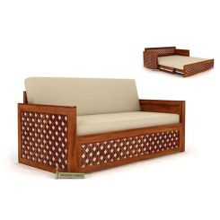 Corsica Sofa Cum Bed (Queen Size, Honey Finish)