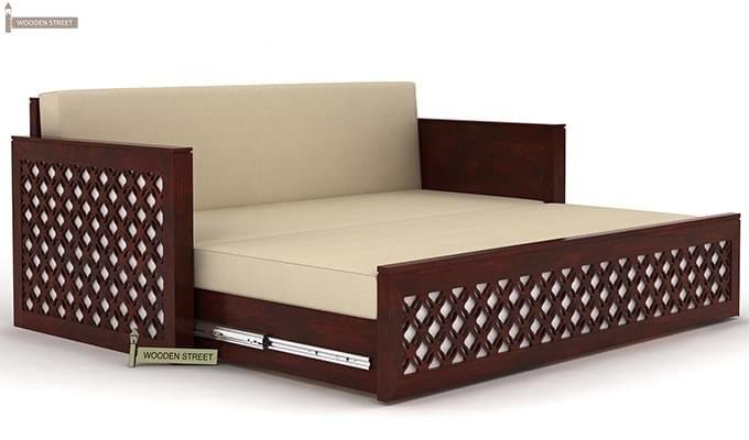 Corsica Sofa Cum Bed (Queen Size, Mahogany Finish)-5