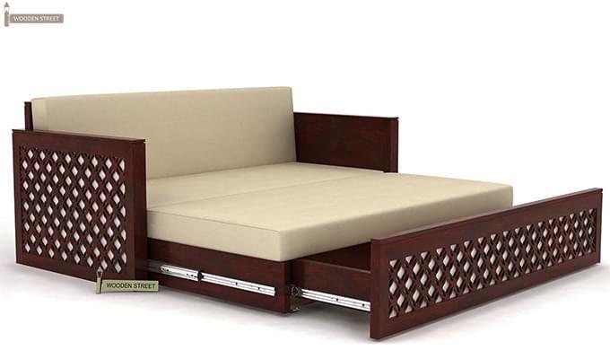 Corsica Sofa Cum Bed (Queen Size, Mahogany Finish)-6