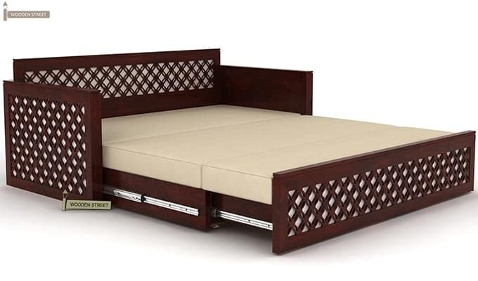 Corsica Sofa Cum Bed (Queen Size, Mahogany Finish)-7