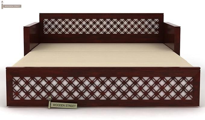 Corsica Sofa Cum Bed (Queen Size, Mahogany Finish)-8