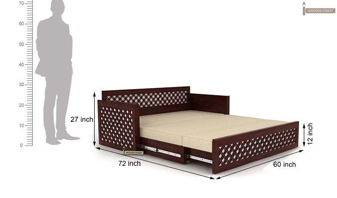 Corsica Sofa Cum Bed (Queen Size, Mahogany Finish)-10