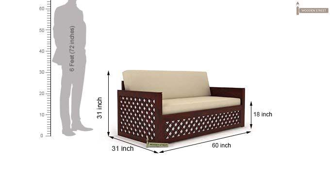 Corsica Sofa Cum Bed (Queen Size, Mahogany Finish)-9