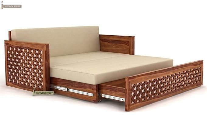 Corsica Sofa Cum Bed (Queen Size, Teak Finish)-4