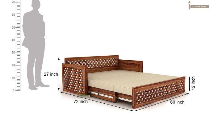 Corsica Sofa Cum Bed (Queen Size, Teak Finish)-8