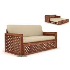 Corsica Sofa Cum Bed (King Size, Teak Finish)