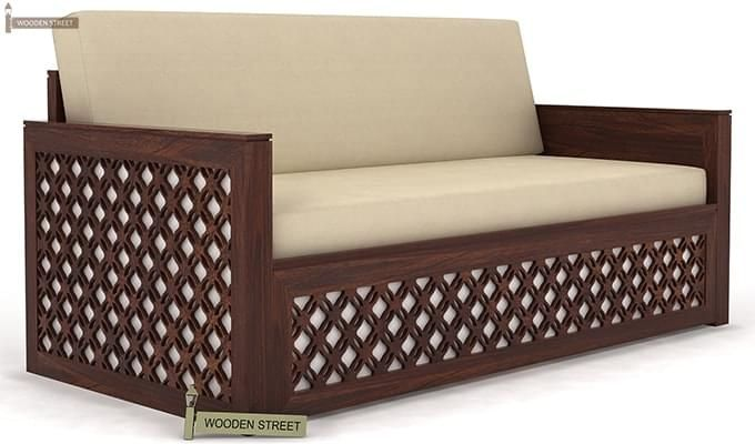 Corsica Sofa Cum Bed (Queen Size, Walnut Finish)-4