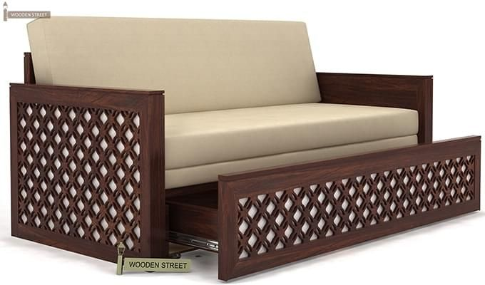 Corsica Sofa Cum Bed (Queen Size, Walnut Finish)-5