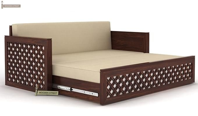 Corsica Sofa Cum Bed (Queen Size, Walnut Finish)-6