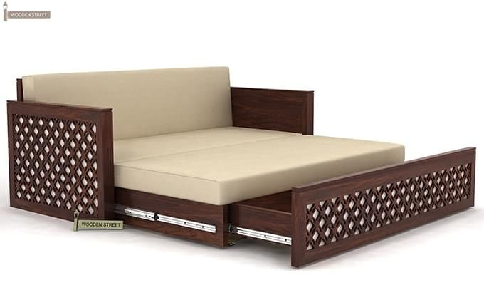 Corsica Sofa Cum Bed (Queen Size, Walnut Finish)-7
