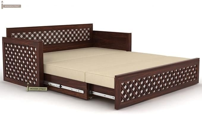 Corsica Sofa Cum Bed (Queen Size, Walnut Finish)-8