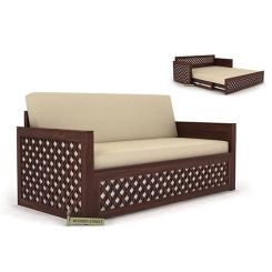 Corsica Sofa Cum Bed (Queen Size, Walnut Finish)