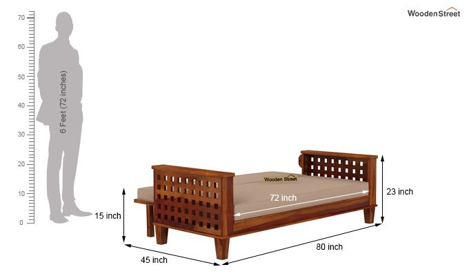 Cyprus Sofa Cum Bed (King Size, Honey Finish)-12
