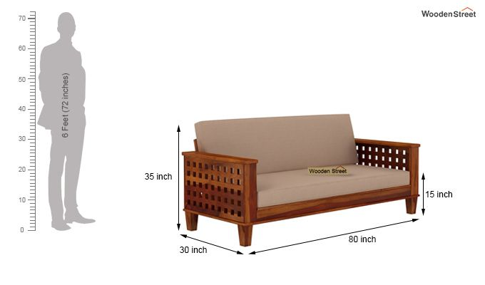 Cyprus Sofa Cum Bed (King Size, Honey Finish)-11