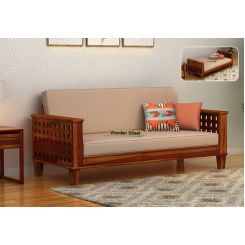 Cyprus Sofa Cum Bed (King Size, Honey Finish)