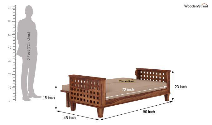 Cyprus Sofa Cum Bed (King Size, Teak Finish)-10