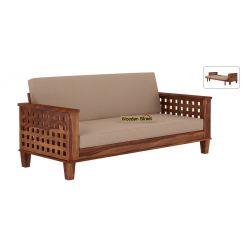 Cyprus Sofa Cum Bed (King Size, Teak Finish)