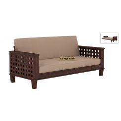 Cyprus Sofa Cum Bed (King Size, Walnut Finish)