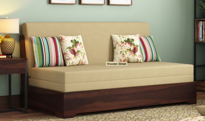 Della Sofa Cum Bed Without Armrests (Walnut Finish)-1