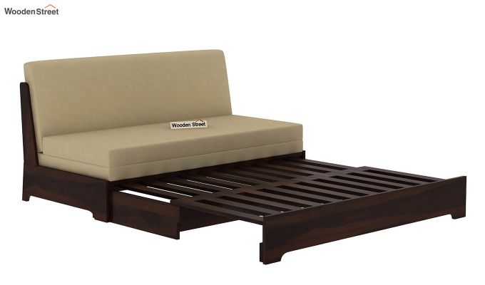 Della Sofa Cum Bed Without Armrests (Walnut Finish)-6