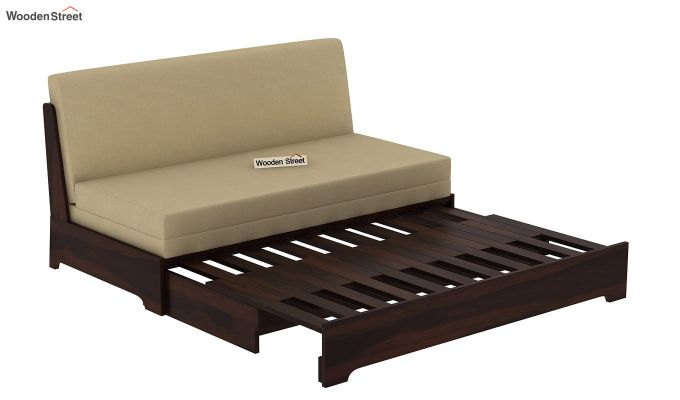 Della Sofa Cum Bed Without Armrests (Walnut Finish)-7