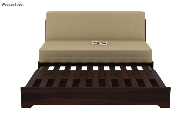 Della Sofa Cum Bed Without Armrests (Walnut Finish)-9