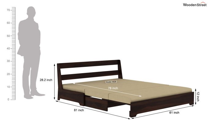 Della Sofa Cum Bed Without Armrests (Walnut Finish)-13