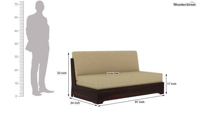 Della Sofa Cum Bed Without Armrests (Walnut Finish)-12