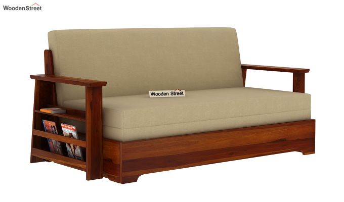 Della Sofa Cum Bed With Armrests (Honey Finish)-3