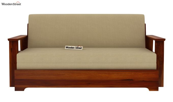 Della Sofa Cum Bed With Armrests (Honey Finish)-4