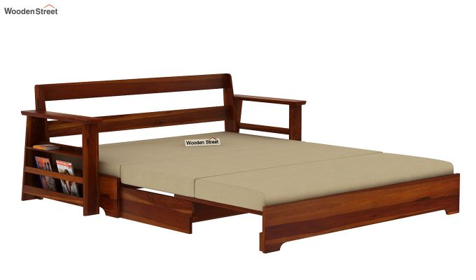 Della Sofa Cum Bed With Armrests (Honey Finish)-5