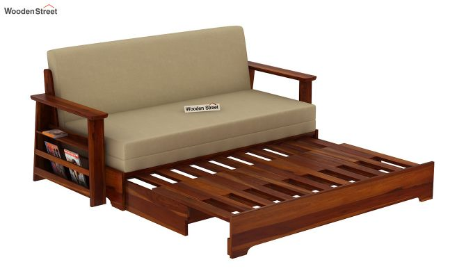 Della Sofa Cum Bed With Armrests (Honey Finish)-9