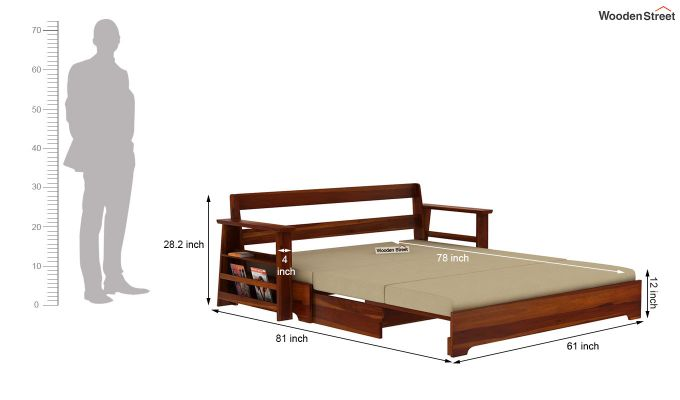 Della Sofa Cum Bed With Armrests (Honey Finish)-12