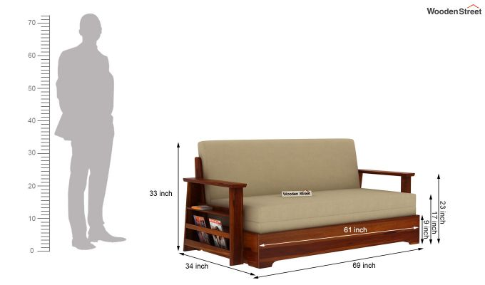Della Sofa Cum Bed With Armrests (Honey Finish)-11