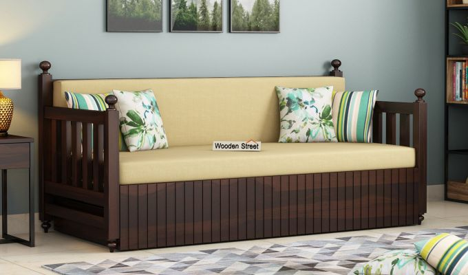 Erika Sofa With Bed (Queen Size, Walnut Finish)-1