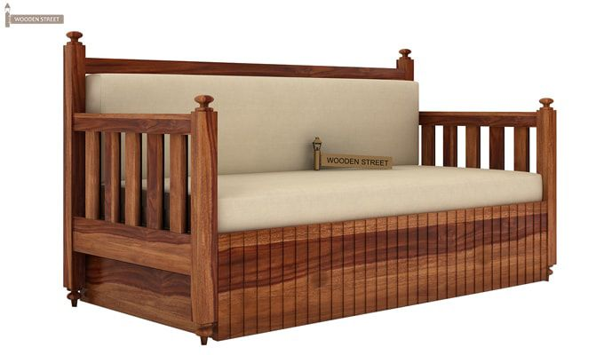 Erika Sofa With Bed (King Size, Teak Finish)-1