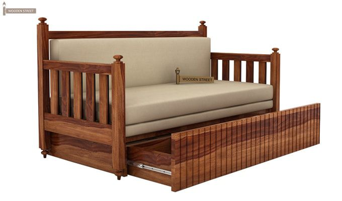 Erika Sofa With Bed (King Size, Teak Finish)-3