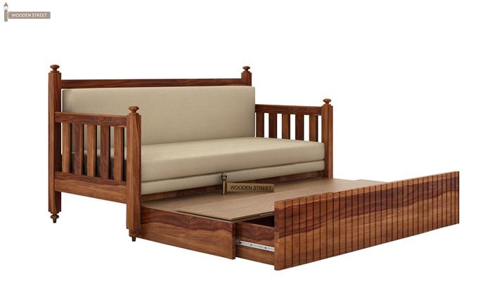 Erika Sofa With Bed (King Size, Teak Finish)-5