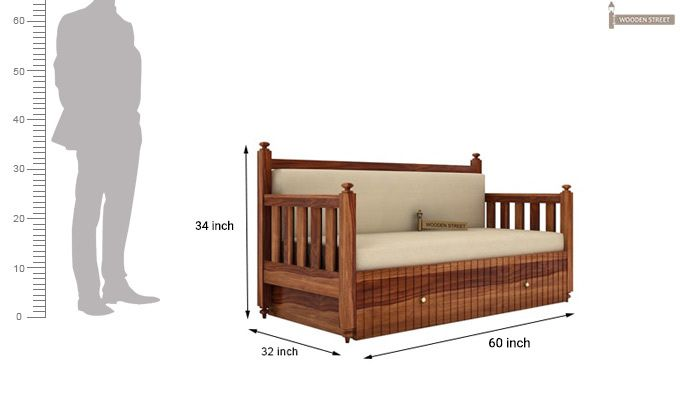 Erika Sofa With Bed (Queen Size, Teak Finish)-8