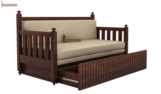 Erika Sofa With Bed (Queen Size, Walnut Finish)-3