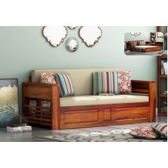 Feltro Bed Cum Sofa (Queen Size, Honey Finish)