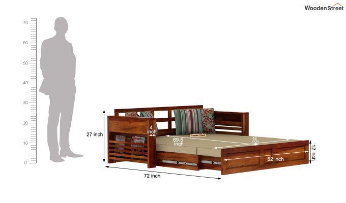 Feltro Bed Cum Sofa (Queen Size, Honey Finish)-15