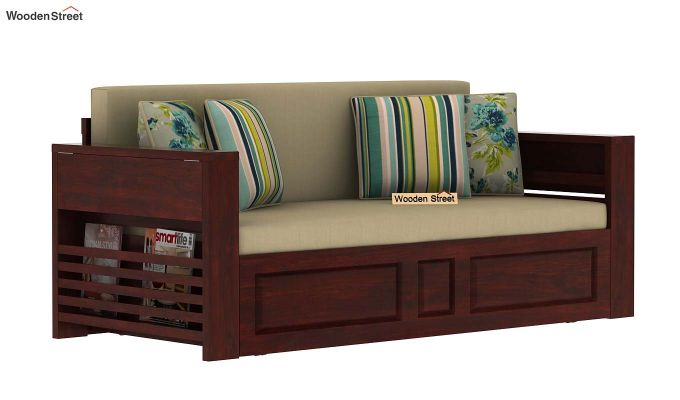 Feltro Bed Cum Sofa (King Size, Mahogany Finish)-3