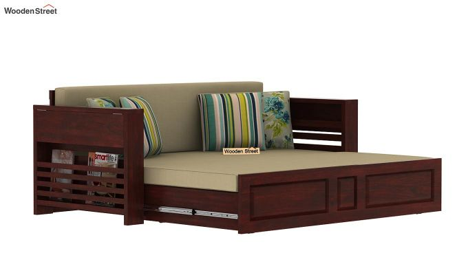 Feltro Bed Cum Sofa (King Size, Mahogany Finish)-12