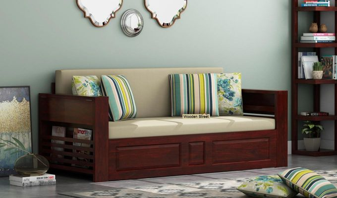 Feltro Bed Cum Sofa (King Size, Mahogany Finish)-1
