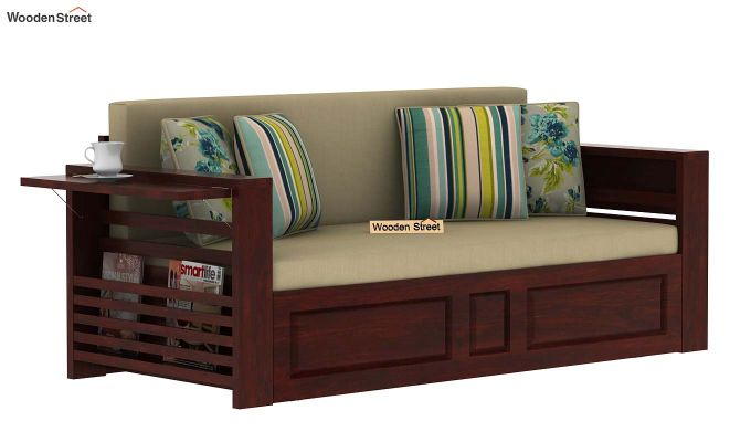 Feltro Bed Cum Sofa (King Size, Mahogany Finish)-5